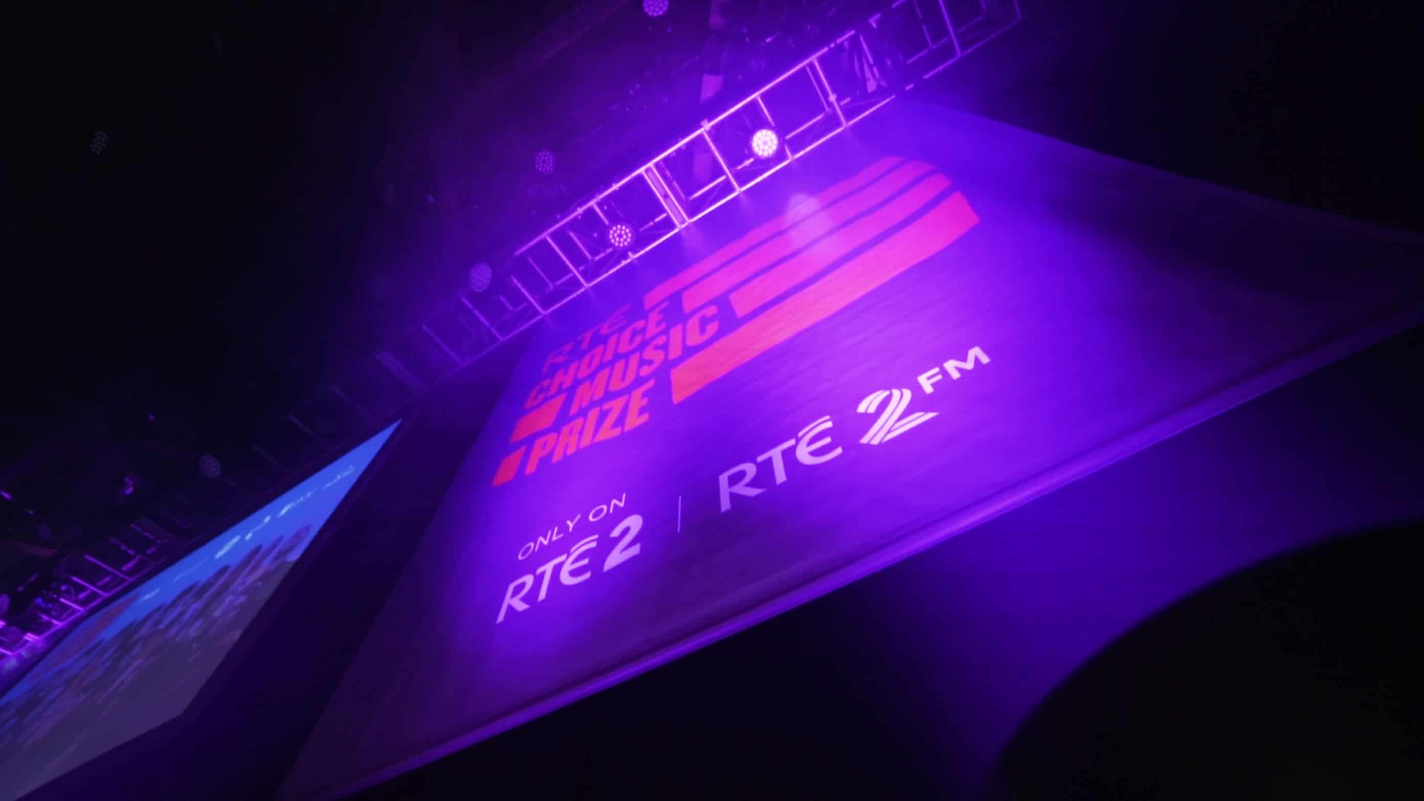 RTE choice music prize banner behind the scenes